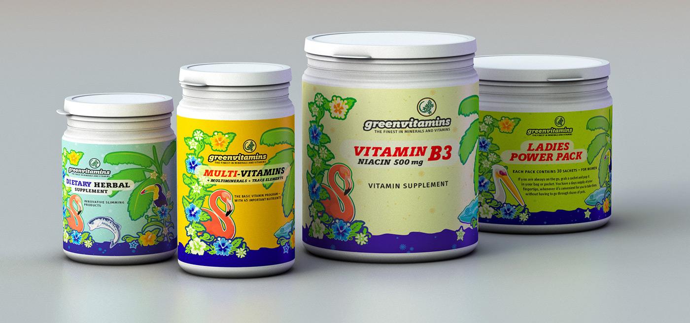 Diverse Verpackungsgrößen Vitamindosen